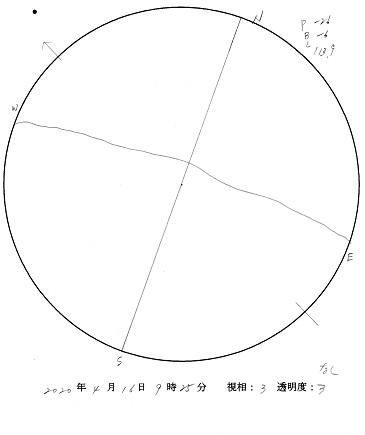 今日の黒点スケッチ(2020-04-16)